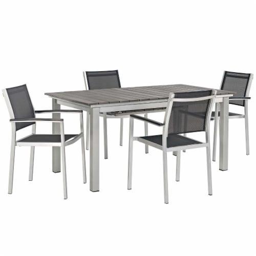 Shore 5 Piece Outdoor Patio Aluminum Outdoor Dining Set - Silver Black Perspective: front