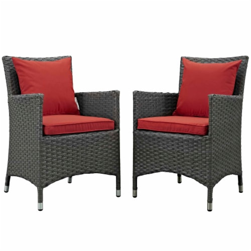 Sojourn 2 Piece Outdoor Patio Sunbrella Dining Set - Canvas Red Perspective: front