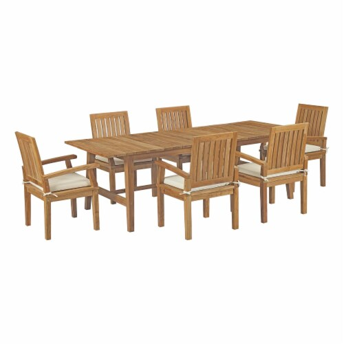 Marina 7 Piece Outdoor Patio Teak Outdoor Dining Set - Natural White Perspective: front