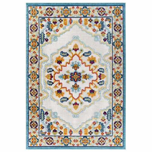 Ansel Floral Persian Medallion 8x10 Indoor and Outdoor Area Rug - Multicolored Perspective: front