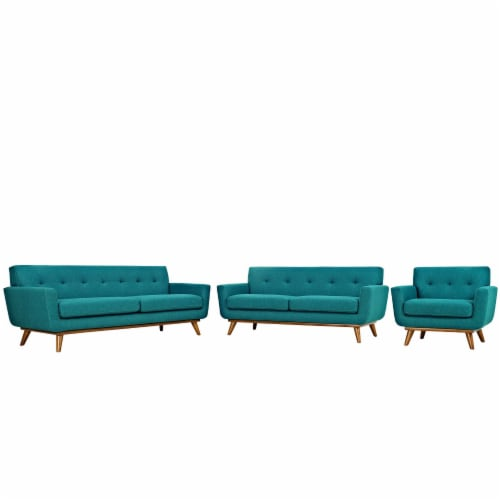 Engage Sofa Loveseat and Armchair Set of 3 - Teal Perspective: front
