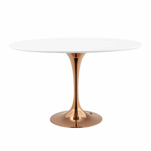 """Lippa 48"""" Oval Dining Table - Rose White Perspective: front"""