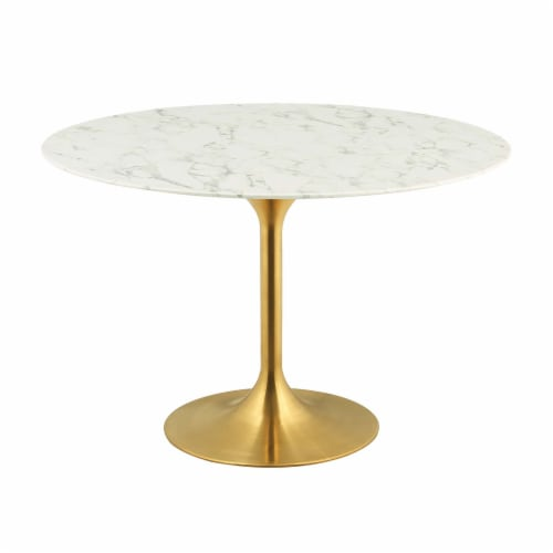 """Lippa 47"""" Round Dining Table - Gold White Perspective: front"""