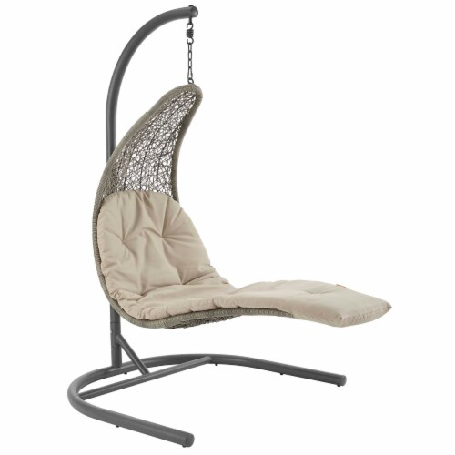 Landscape Hanging Chaise Lounge Outdoor Patio Swing Chair - Light Gray Beige Perspective: front