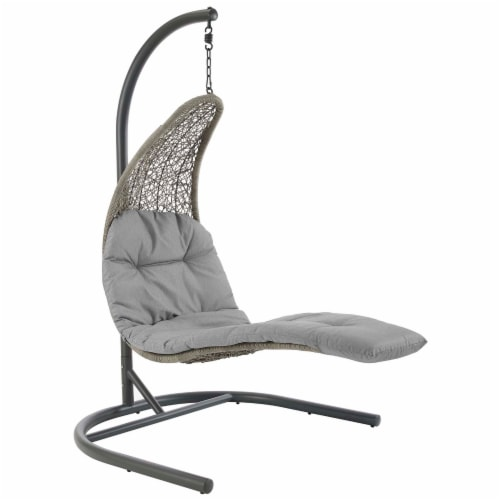 Landscape Hanging Chaise Lounge Outdoor Patio Swing Chair - Light Gray Gray Perspective: front