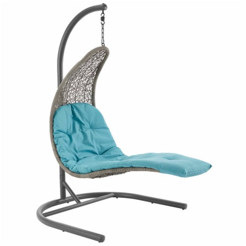 Landscape Hanging Chaise Lounge Outdoor Patio Swing Chair - Light Gray Turquoise Perspective: front
