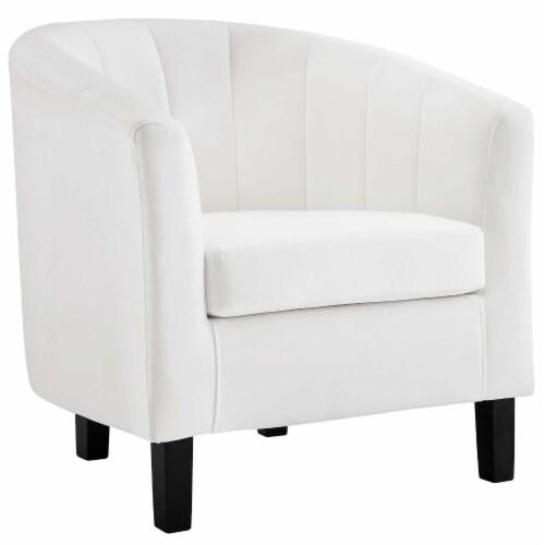 Prospect Channel Tufted Upholstered Velvet Armchair - White Perspective: front