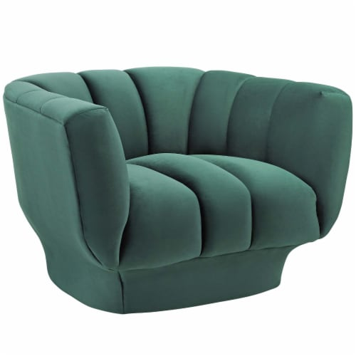 Entertain Vertical Channel Tufted Performance Velvet Armchair - Green Perspective: front