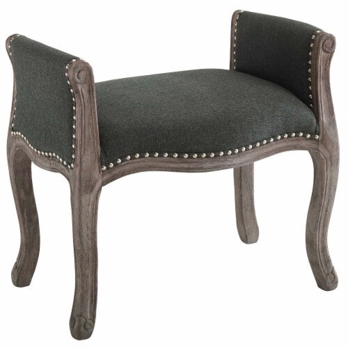 Avail Vintage French Upholstered Fabric Bench - Gray Perspective: front