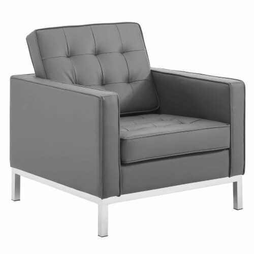 Loft Tufted Upholstered Faux Leather Armchair Perspective: front