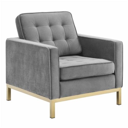Loft Gold Stainless Steel Performance Velvet Armchair Perspective: front
