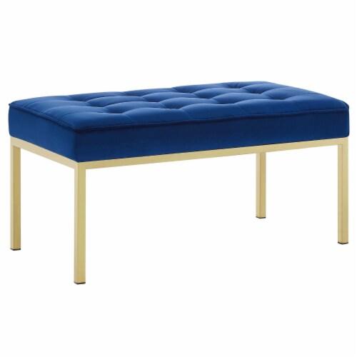 Loft Gold Stainless Steel Leg Medium Performance Velvet Bench Perspective: front