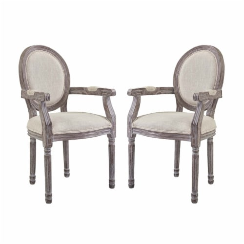 Emanate Dining Armchair Upholstered Fabric Set of 2 - Beige Perspective: front