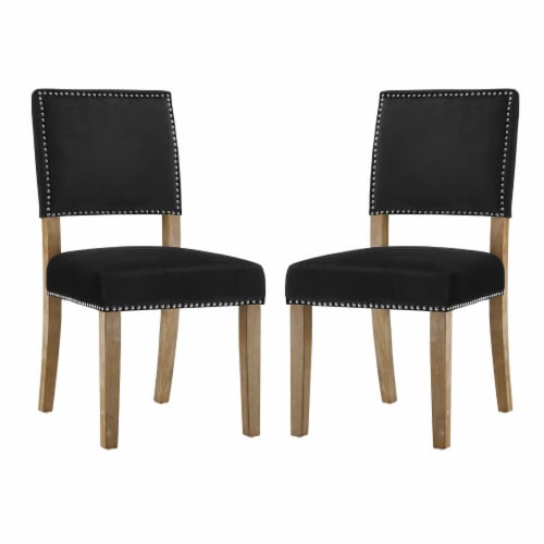 Oblige Dining Chair Wood Set of 2 - Black Perspective: front