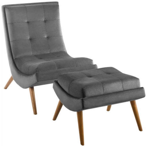 Ramp Upholstered Performance Velvet Lounge Chair and Ottoman Set Perspective: front