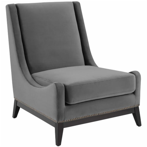 Confident Accent Upholstered Performance Velvet Lounge Chair Perspective: front