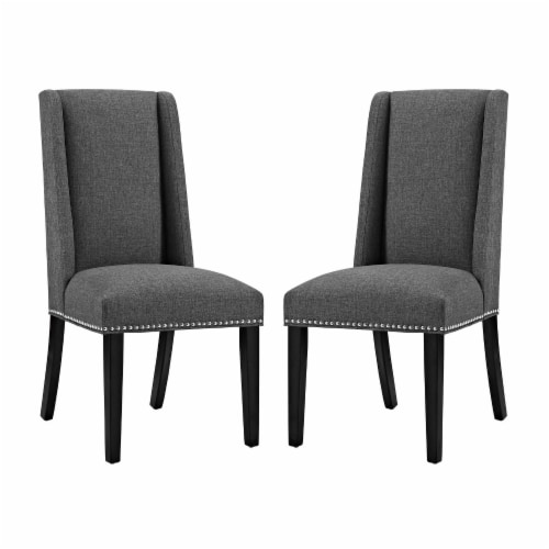 Baron Dining Chair Fabric Set of 2 - Gray Perspective: front