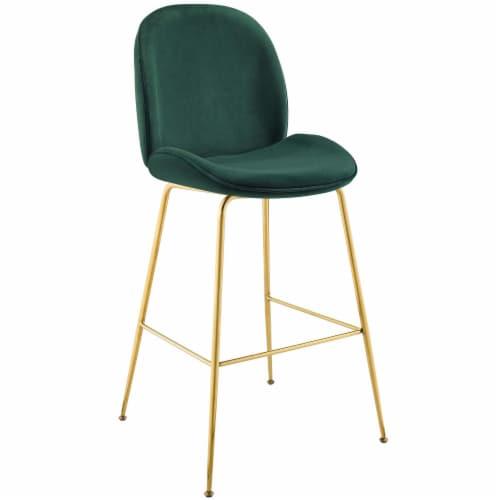 Scoop Gold Stainless Steel Leg Performance Velvet Bar Stool - Green Perspective: front