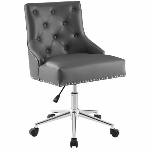 Regent Tufted Button Swivel Faux Leather Office Chair Perspective: front