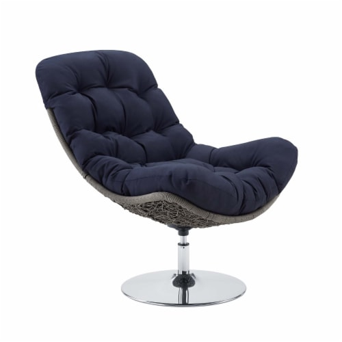 Brighton Wicker Rattan Outdoor Patio Swivel Lounge Chair Light Gray Navy Perspective: front