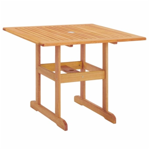 """Hatteras 36"""" Square Outdoor Patio Eucalyptus Wood Dining Table Natural Perspective: front"""