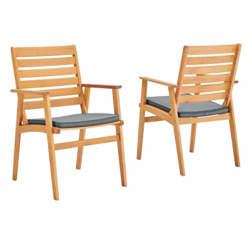 Syracuse Outdoor Patio Eucalyptus Wood Dining Chair Set of 2 Natural Gray Perspective: front