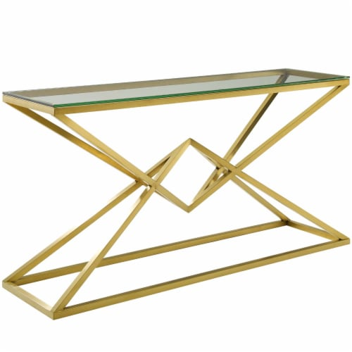 """Point 59"""" Brushed Gold Metal Stainless Steel Console Table Perspective: front"""