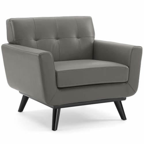 Engage Top-Grain Leather Living Room Lounge Accent Armchair Gray Perspective: front