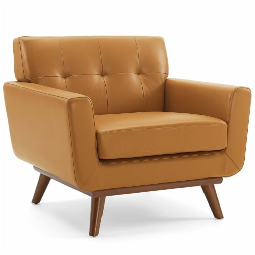 Engage Top-Grain Leather Living Room Lounge Accent Armchair Tan Perspective: front
