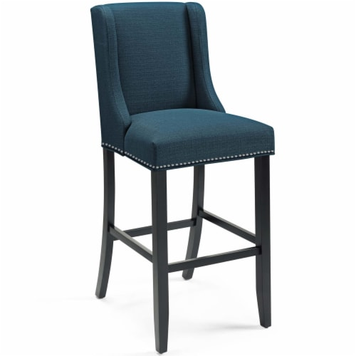 Baron Upholstered Fabric Bar Stool Azure Perspective: front