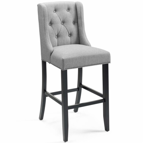 Baronet Tufted Button Upholstered Fabric Bar Stool Light Gray Perspective: front