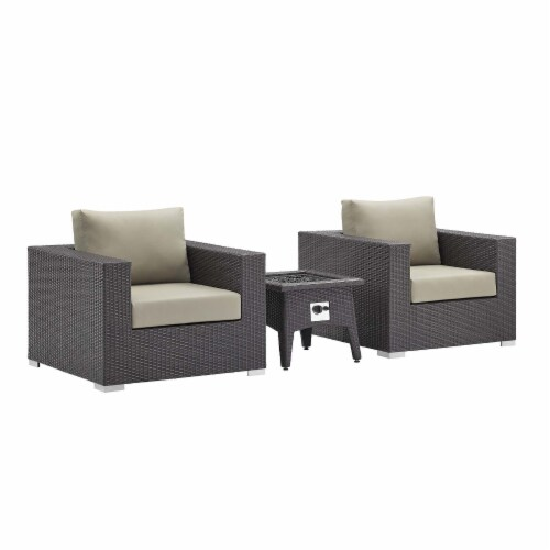 Convene 3 Piece Set Outdoor Patio with Fire Pit Perspective: front