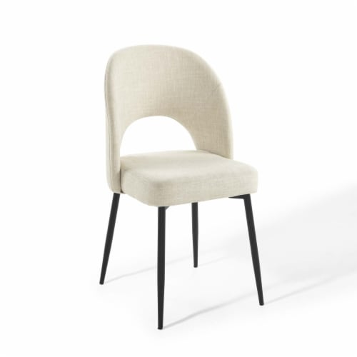 Rouse Upholstered Fabric Dining Side Chair Black Beige Perspective: front
