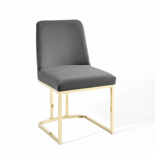 Amplify Sled Base Performance Velvet Dining Side Chair Gold Gray Perspective: front