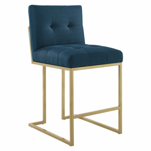 Privy Gold Stainless Steel Upholstered Fabric Counter Stool Gold Azure Perspective: front