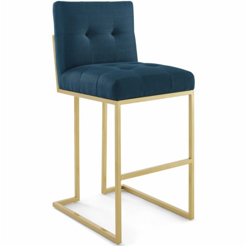 Privy Gold Stainless Steel Upholstered Fabric Bar Stool Gold Azure Perspective: front