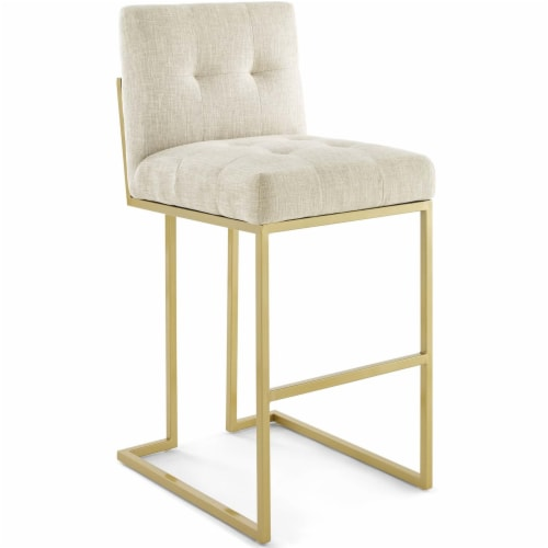 Privy Gold Stainless Steel Upholstered Fabric Bar Stool Gold Beige Perspective: front