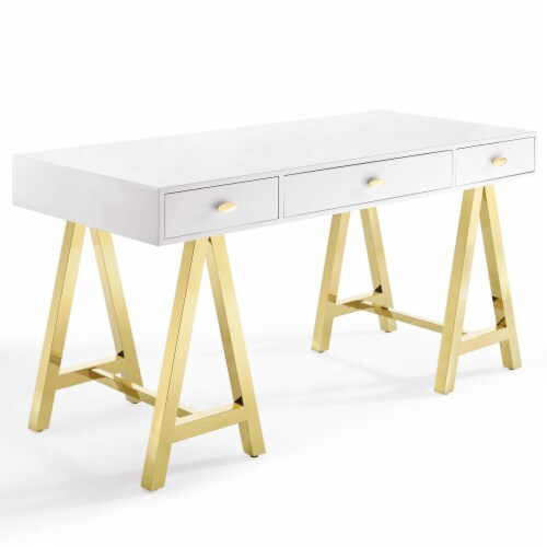 Jettison Office Desk Gold White Perspective: front