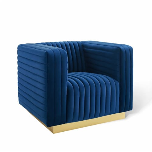 Charisma Channel Tufted Performance Velvet Accent Armchair Navy Perspective: front