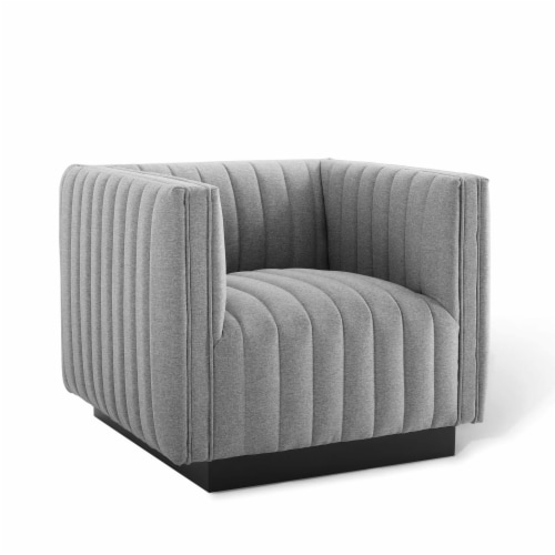 Conjure Tufted Upholstered Fabric Armchair Light Gray Perspective: front
