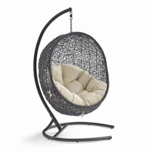 Encase Sunbrella Swing Outdoor Patio Lounge Chair Black Beige Perspective: front