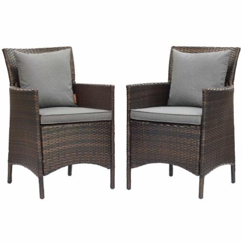 Conduit Outdoor Patio Wicker Rattan Dining Armchair Set of 2 Brown Gray Perspective: front