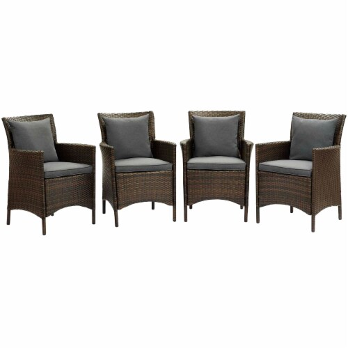 Conduit Outdoor Patio Wicker Rattan Dining Armchair Set of 4 Brown Charcoal Perspective: front