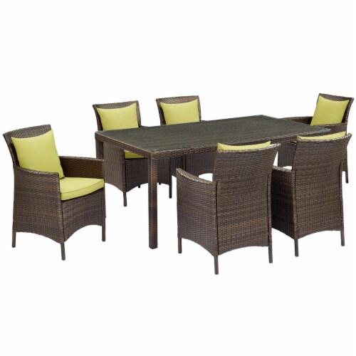 Conduit 7 Piece Outdoor Patio Wicker Rattan Dining Set Brown Peridot Perspective: front