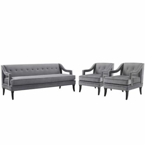 Concur Living Room Set Performance Velvet Set of 3 Gray Perspective: front