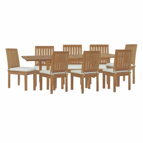 Marina 9 Piece Outdoor Patio Teak Dining Set Natural White Perspective: front