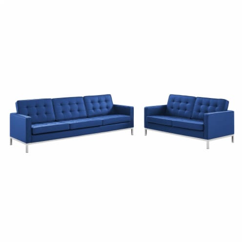 Loft Tufted Upholstered Faux Leather Sofa and Loveseat Set Silver Navy Perspective: front