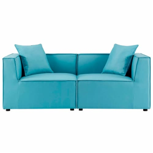 Saybrook Outdoor Patio Upholstered 2-Piece Sectional Sofa Loveseat Perspective: front