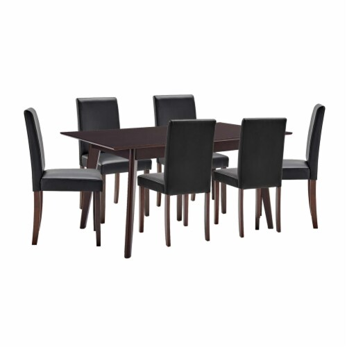 Prosper 7 Piece Faux Leather Dining Set Cappuccino Black Perspective: front