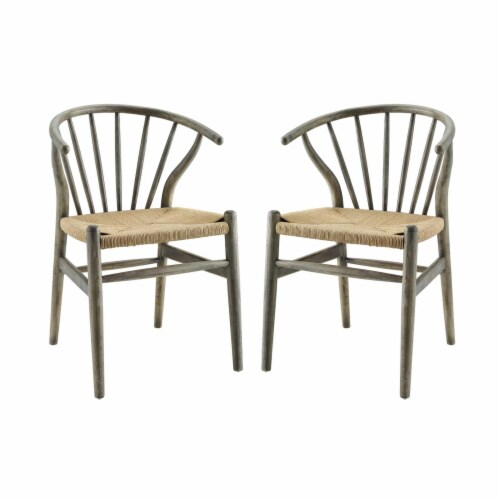 Flourish Spindle Wood Dining Side Chair Set of 2 Gray Perspective: front